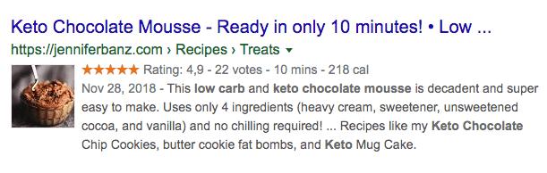 Keto recipe SERP 2