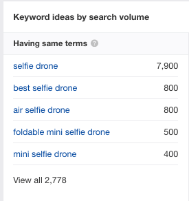 Selfie drone related keywords