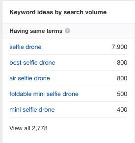 Selfie drone related keywords