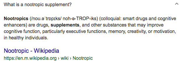What are nootropics wiki