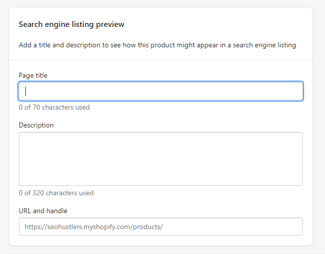 search engine listing preview shopify