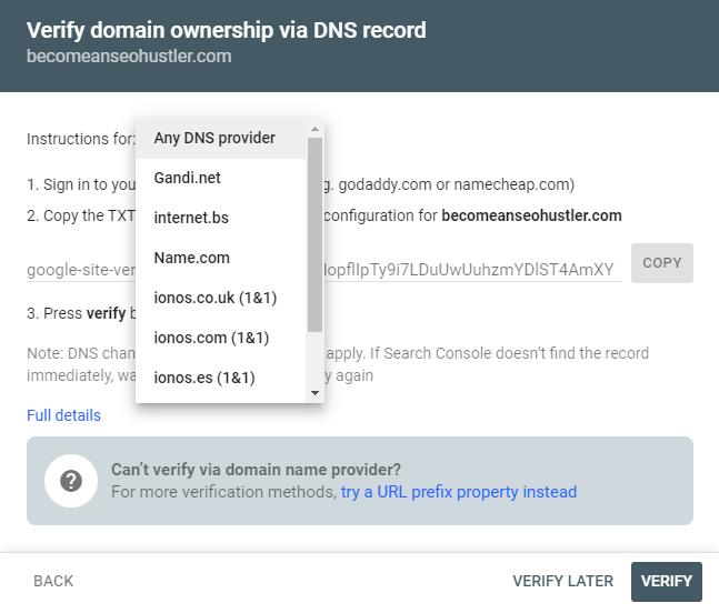 Domain property verification