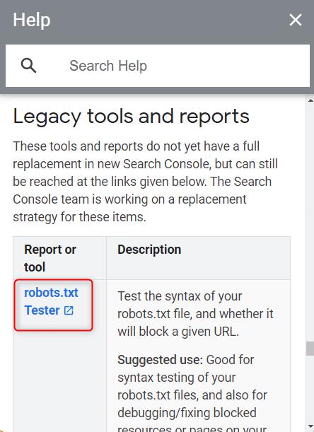 GSC legacy tools robots tester