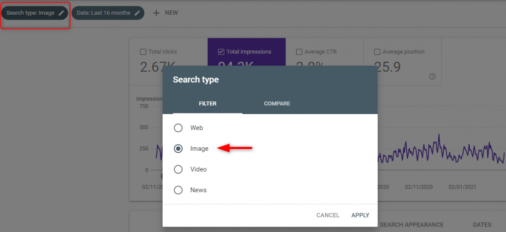 Google search console images