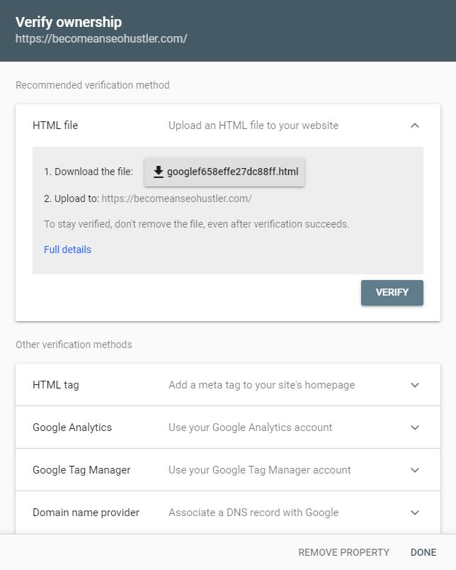 URL prefix google search console verification