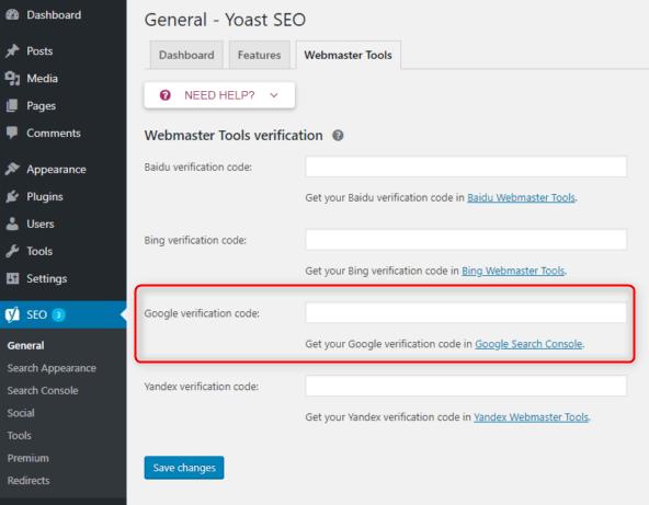 Yoast search console verification